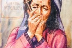 woman smoking hukka