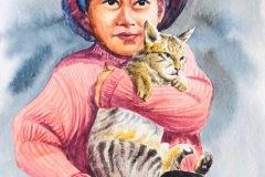 girlholding cat