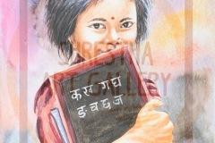 Little Nepali Girl Water Color