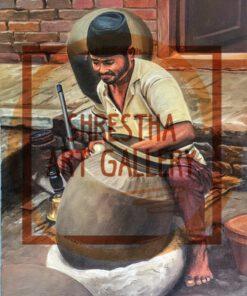 Nepali portrait of A man potraying.