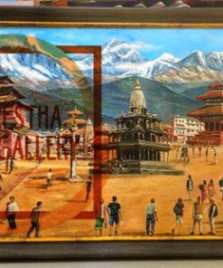 painting of 3 of Heritage sites: Bhaktapur, Patan, Basantapur with Annapurna Range