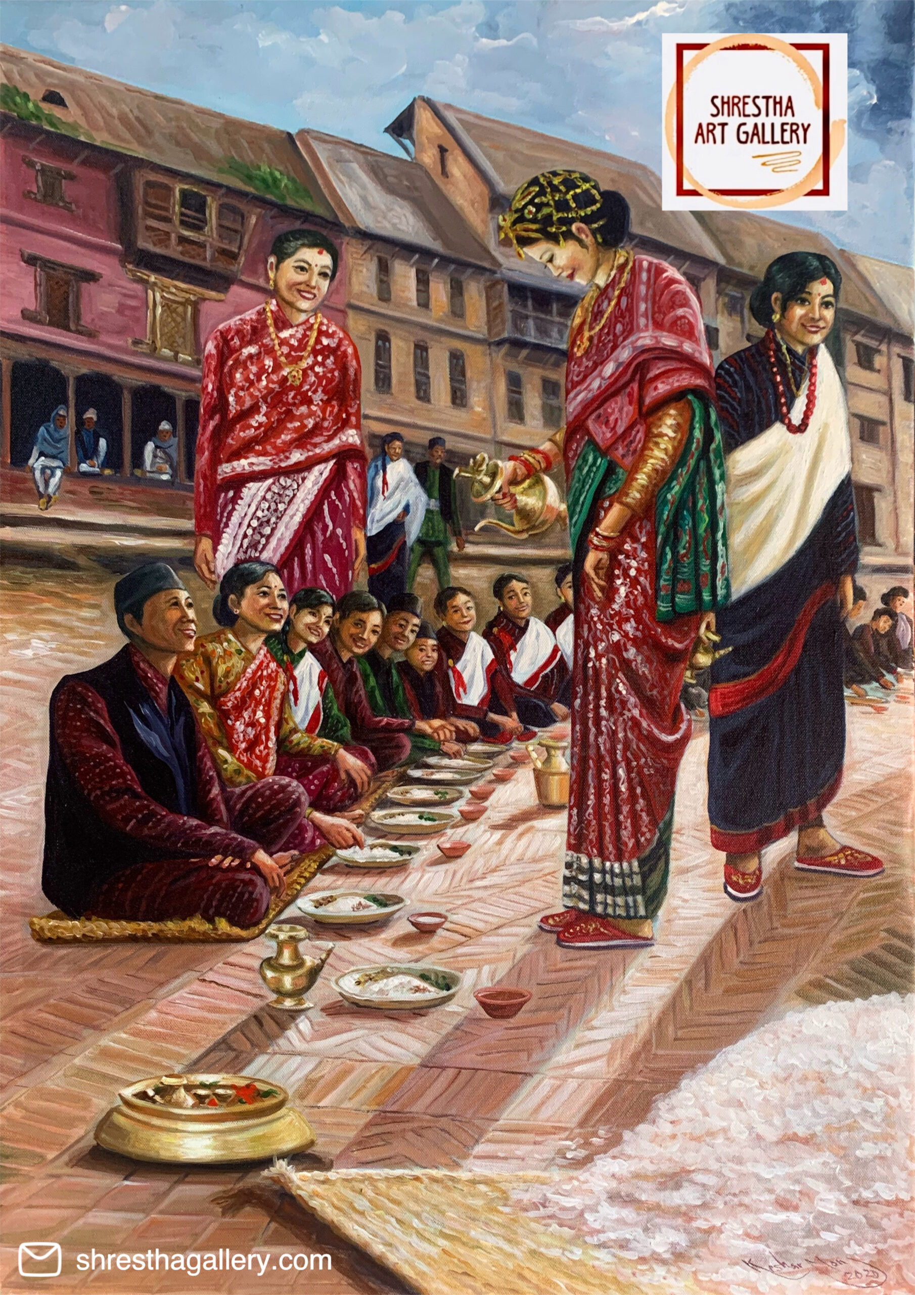 Newari Bride serving rice wine
