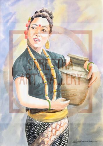 Portrait Of Nepali Girl Water Color