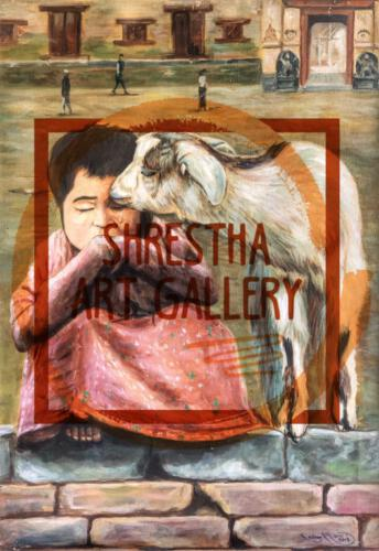 Nepali Portrait of Goat consoling little child